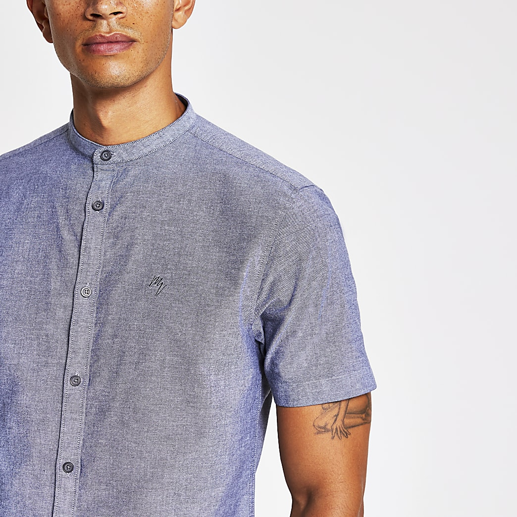 Grey slim fit grandad collar shirt