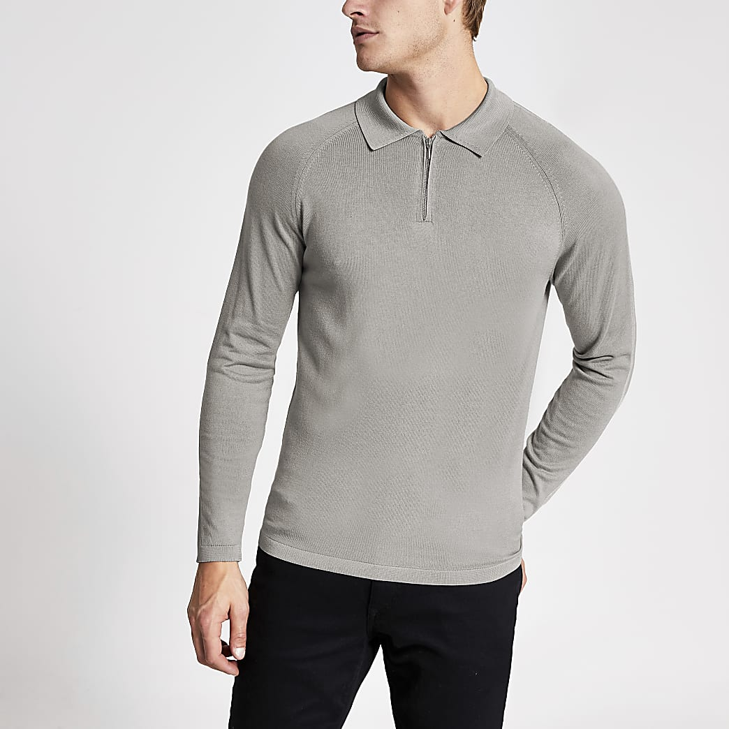 Grey slim fit half zip knitted polo shirt