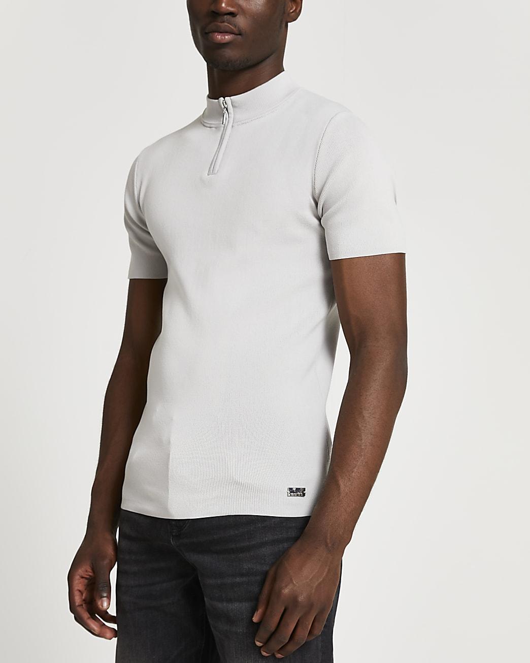 Grey slim fit half zip smart knit t-shirt