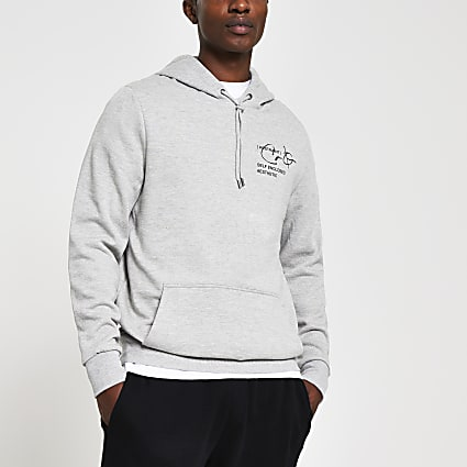 Grey slim fit long sleeve back print hoody