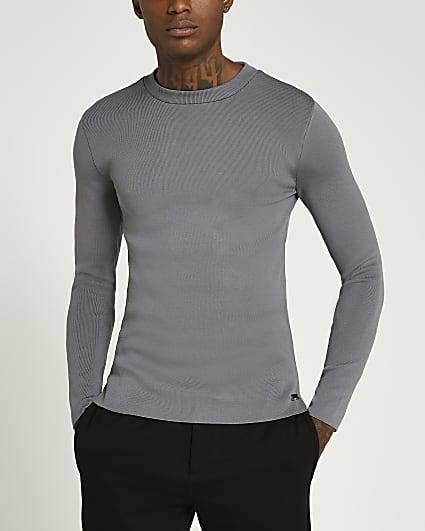 Grey slim fit long sleeve crew neck jumper
