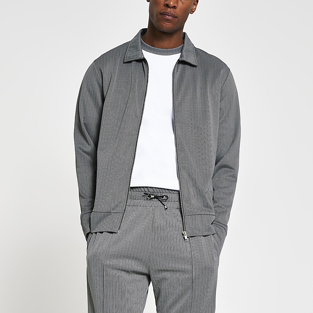 Grey slim fit long sleeve shacket