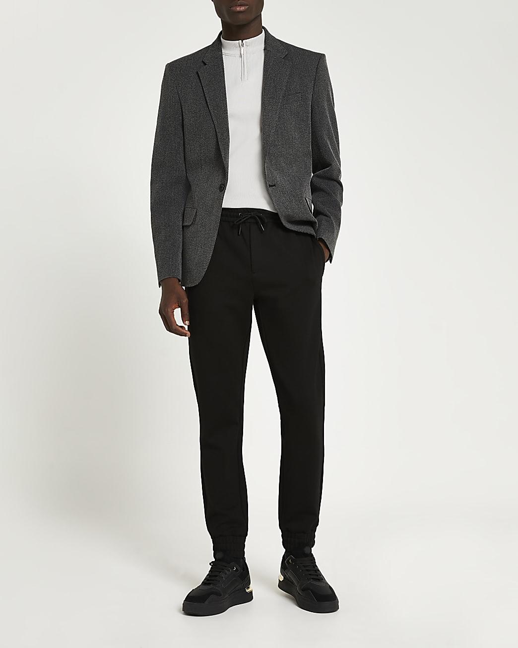 Grey slim fit notch lapel twill blazer