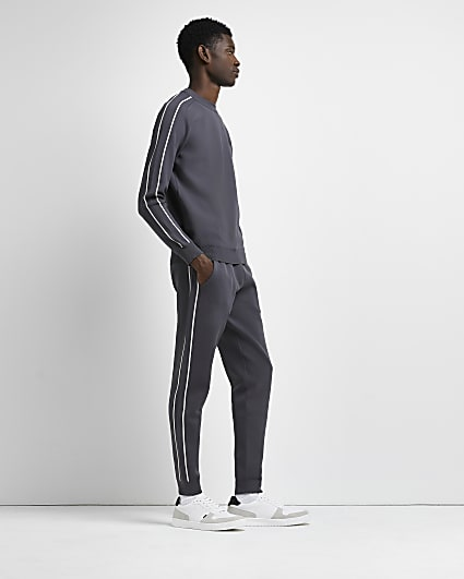 Grey slim fit piping detail joggers