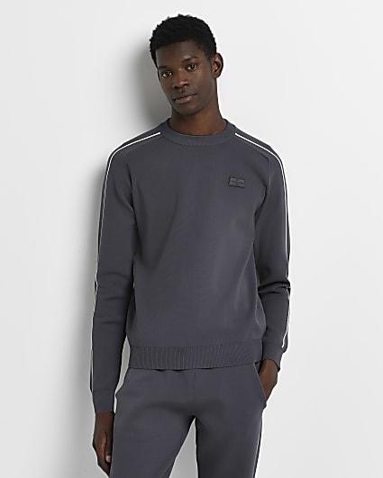 Grey slim fit piping detail sweatshirt