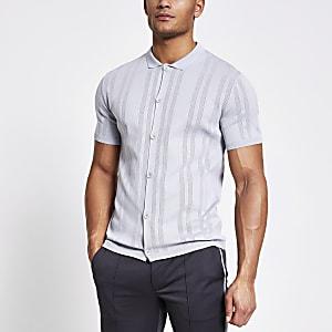 Grey slim fit pointelle knit shirt