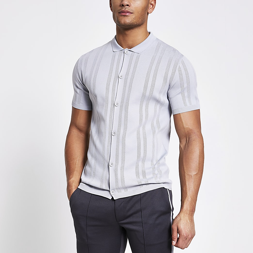 Grey slim fit pointelle knit shirt
