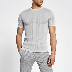 Graues Slim Fit Strick-T-Shirt im Pointelle-Stil