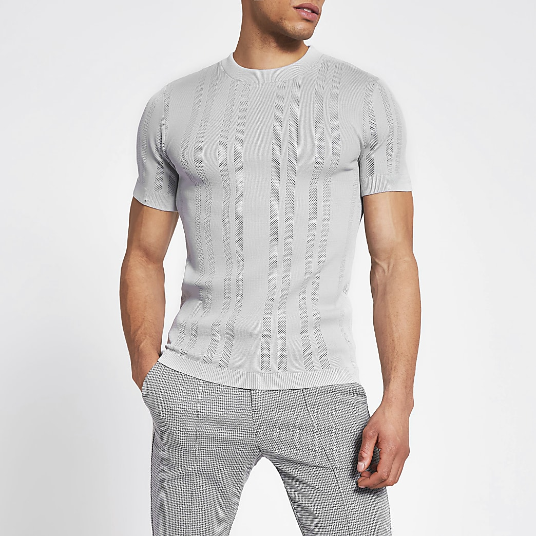 Grijs pointelle gebreid slim-fit T-shirt
