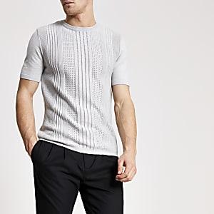 Graues Slim Fit Strick-T-Shirt im Pointelle-Stil