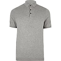 Grey slim fit polo shirt