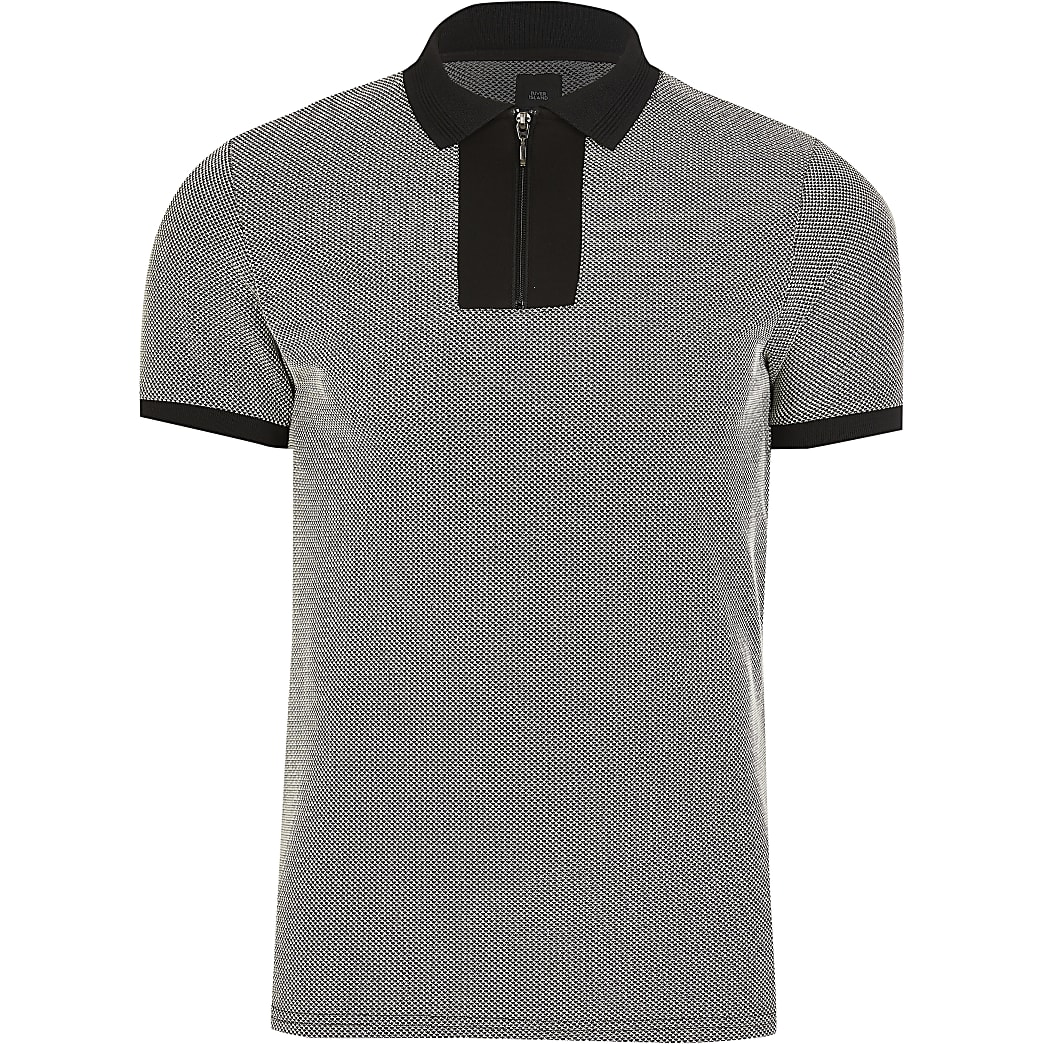 Grey slim fit polo shirt