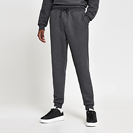 Grey slim fit quilted jogger