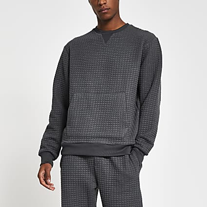 Grey slim fit quilted sweatshirt