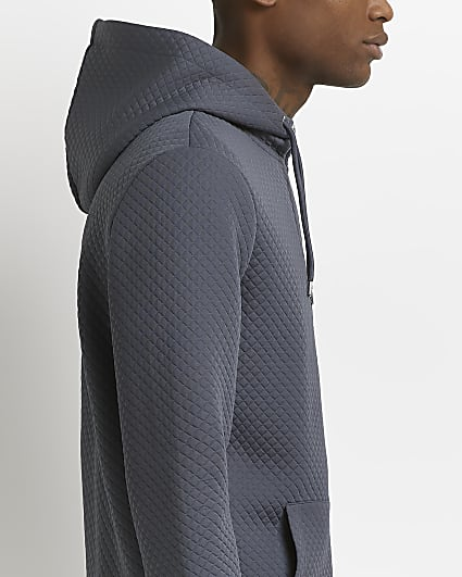 Grey slim fit quilted zip through hoodie