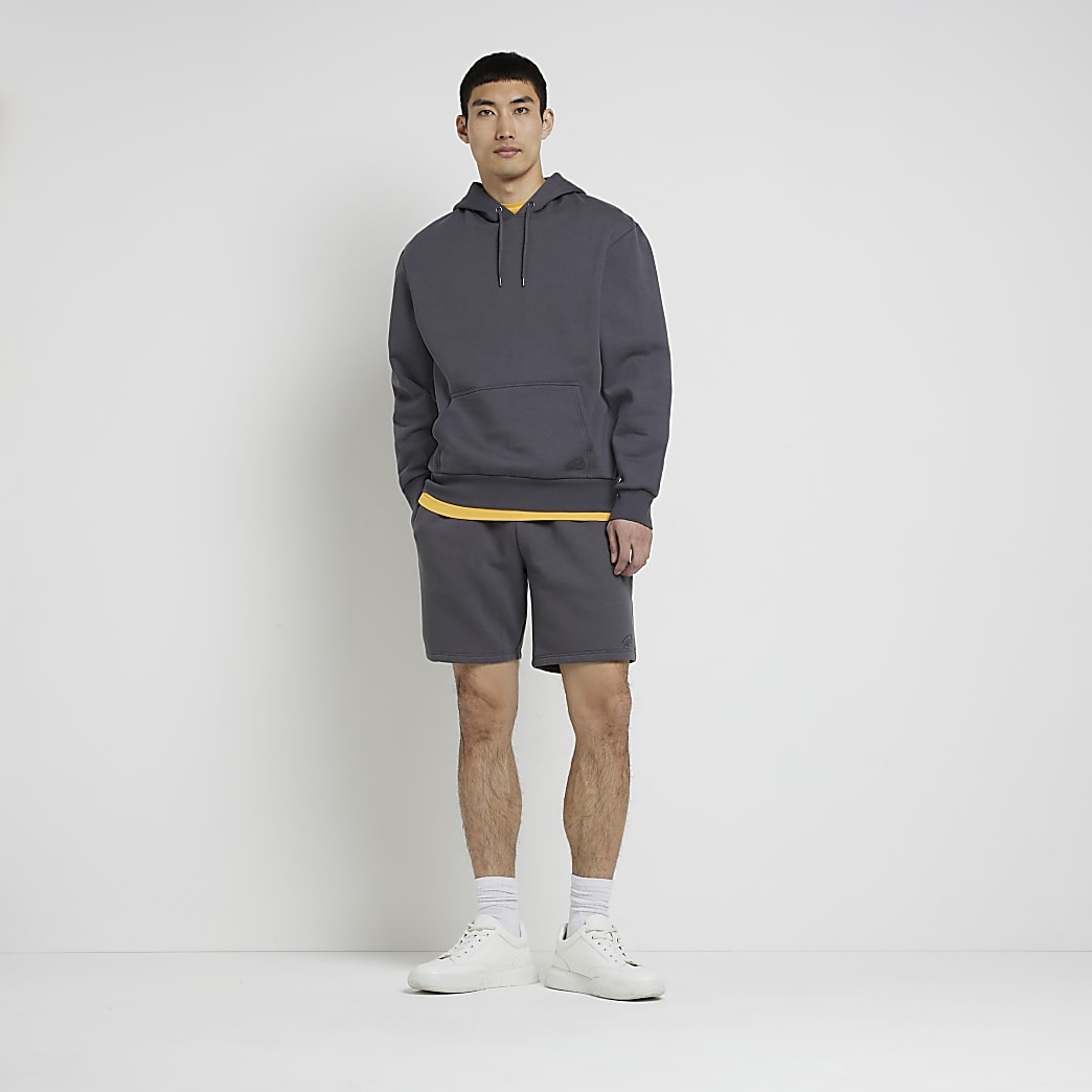 Grey slim fit RI shorts