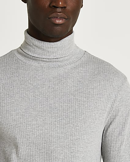 Grey slim fit ribbed roll neck t-shirt