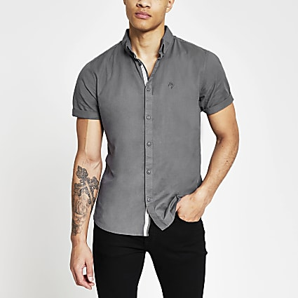 Grey slim fit short sleeve oxford shirt