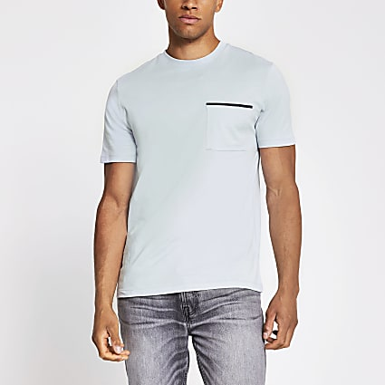 Grey slim fit short sleeve pocket T-shirt