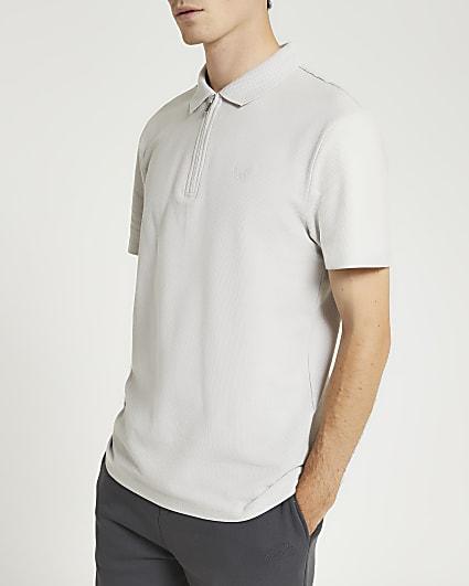 Grey slim fit short sleeve polo shirt