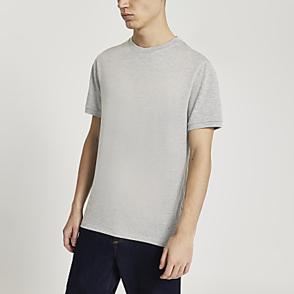 Grey slim fit short sleeve t-shirt