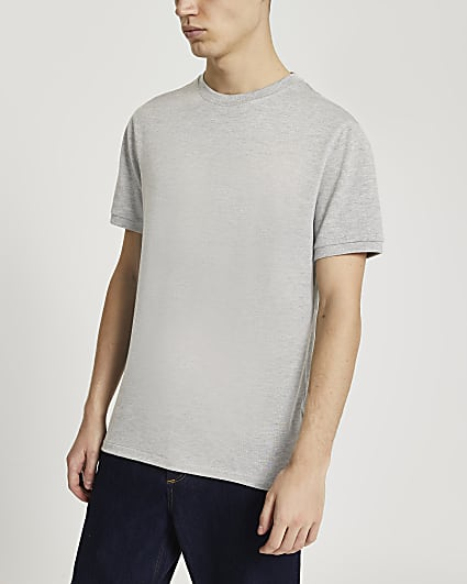 Grey slim fit short sleeve t-shirt