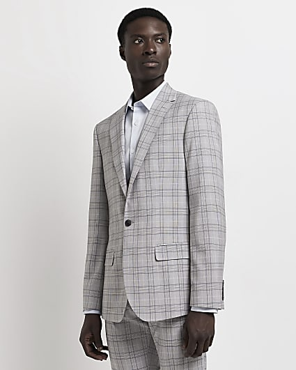 Grey slim fit single breasted suit jacket