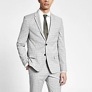 Einreihige Slim Fit Anzugjacke in Grau