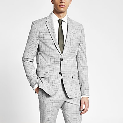 Grey slim fit single breasted suit jacket