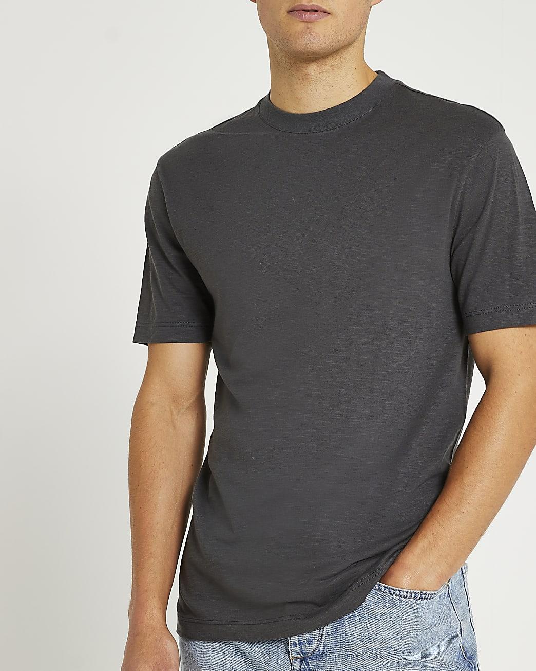 Grey slim fit slub t-shirt