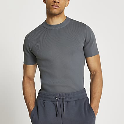 Grey slim fit smart knit t-shirt