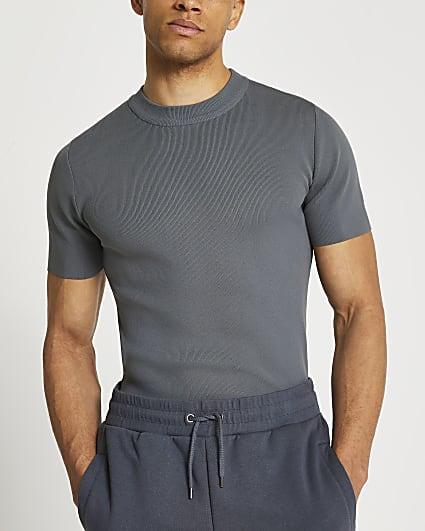 Grey slim fit smart knit t-shirt