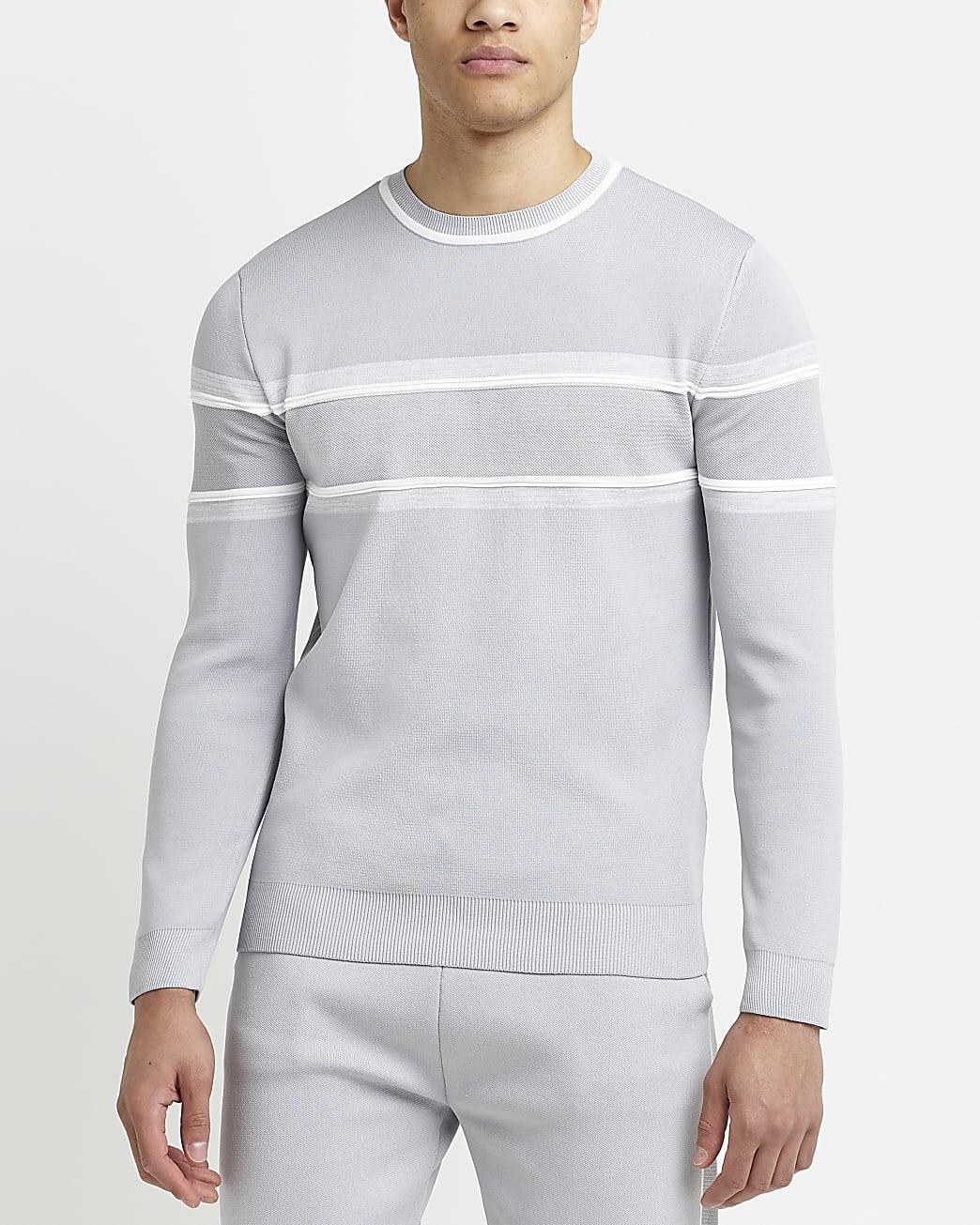 Grey slim fit stripe long sleeve jumper