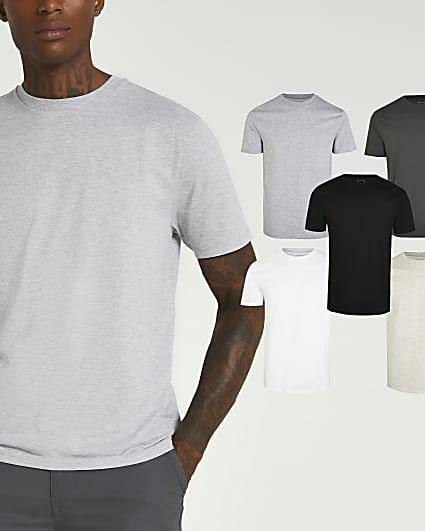 Grey slim fit t-shirt 5 pack