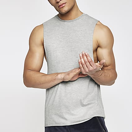 Grey slim fit tank top
