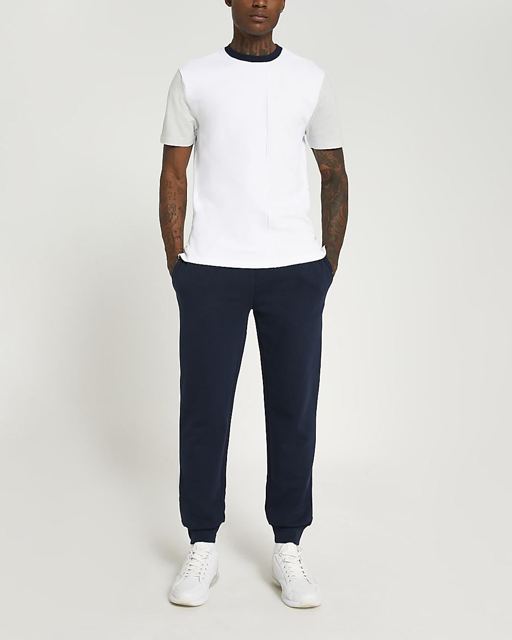 Grey slim fit textured colour block t-shirt