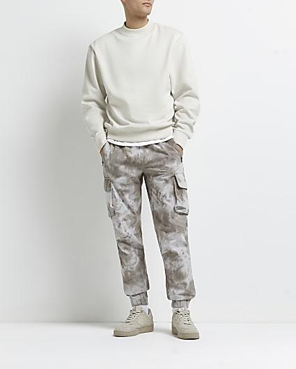 Grey slim fit tie dye cargo trousers