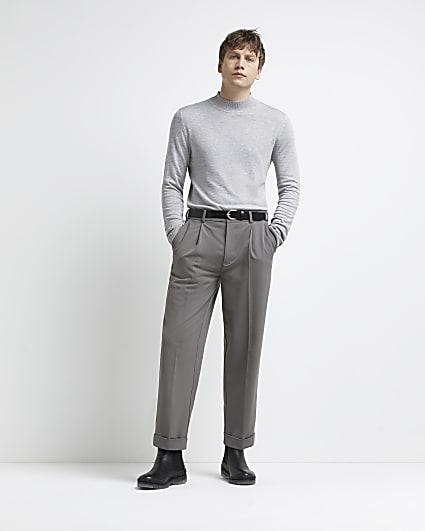 Grey slim fit turtle neck jumper