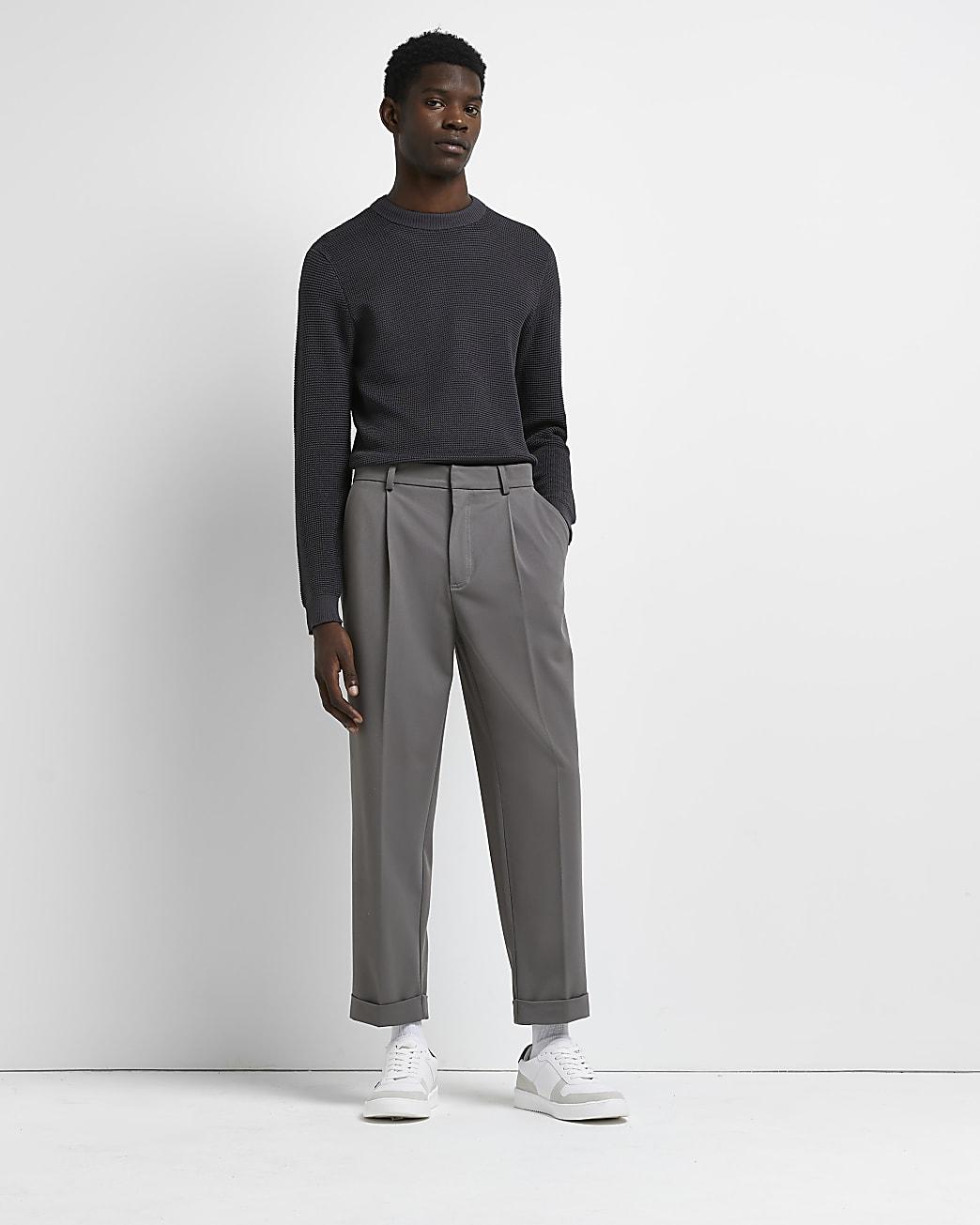 Grey slim fit waffle jumper