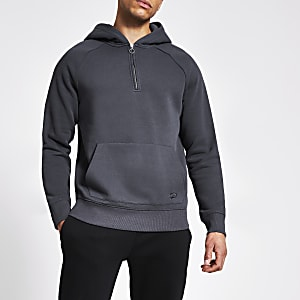 Grey slim fit zip neck hoodie