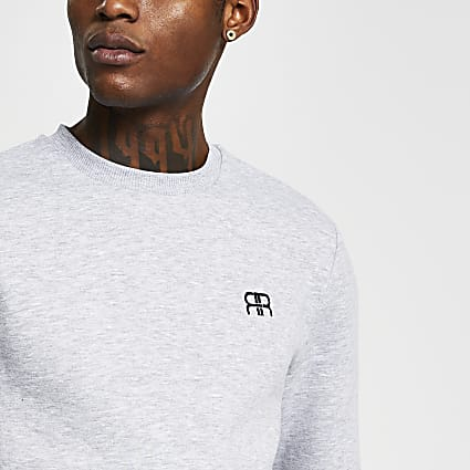 Grey slim long sleeve 'RR' crew sweatshirt