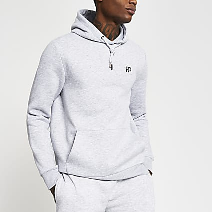 Grey slim long sleeve 'RR' hoody