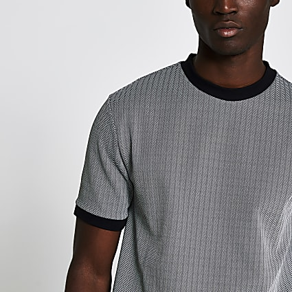 Grey slim short sleeve herringbone t-shirt