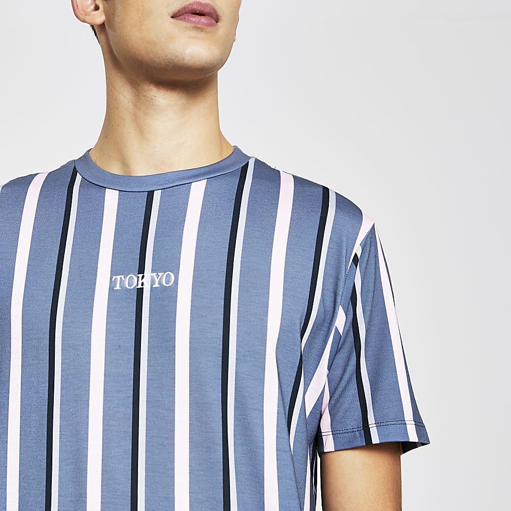 Grey slim short sleeve 'Tokyo stripe t-shirt
