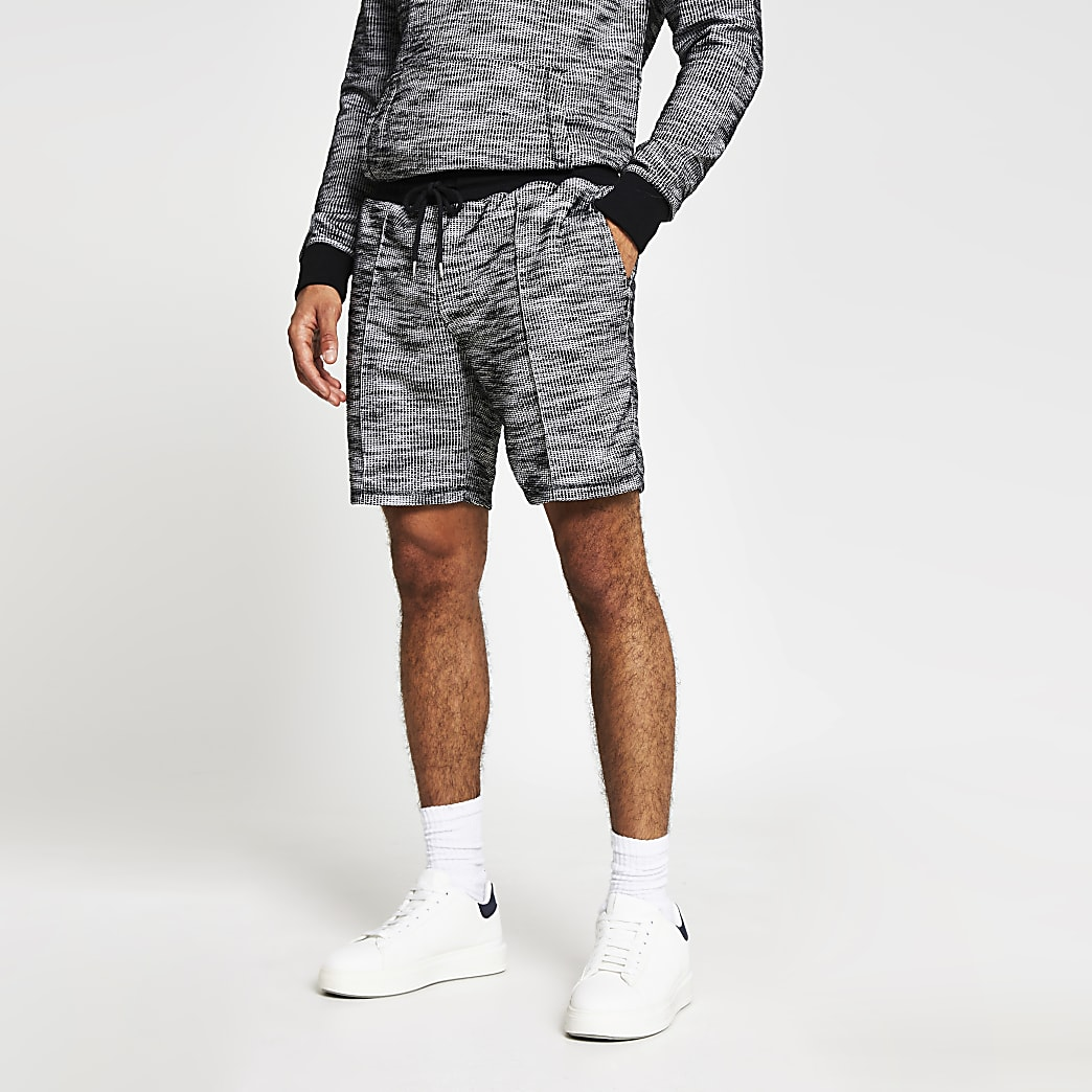 Grey slim textured shorts