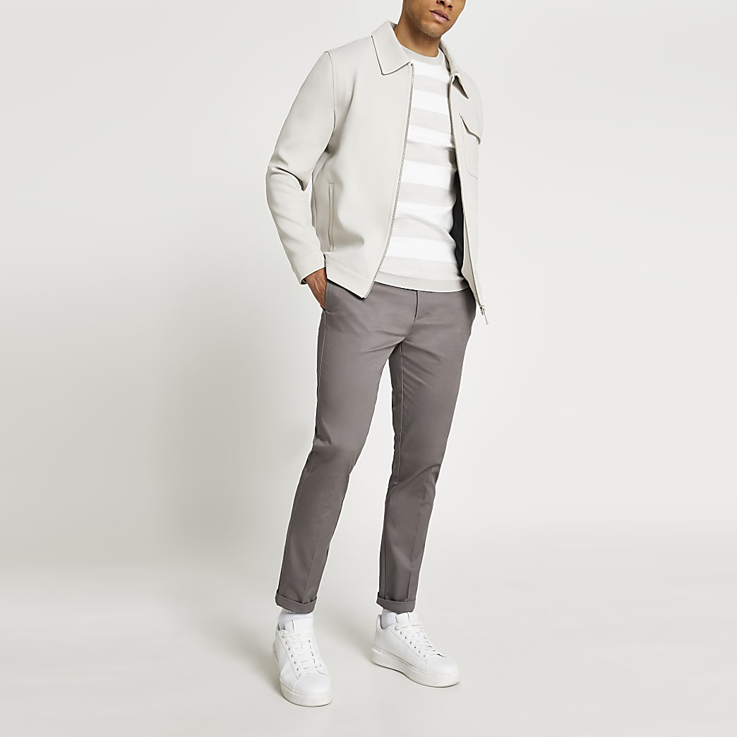 Grey smart chino trousers