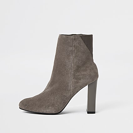 Grey smart heeled ankle boot