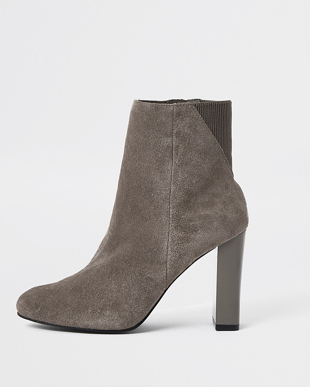 Grey smart heeled ankle boots