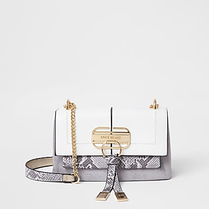 Grey snake print cross body Handbag