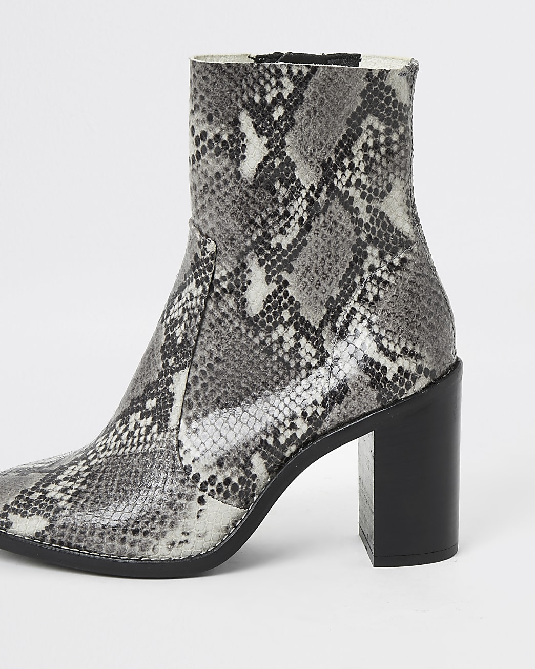 Grey snake print leather heel sock boots